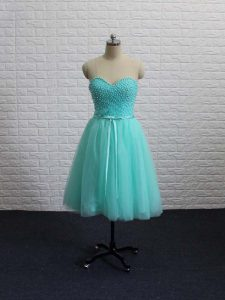 Discount Apple Green A-line Tulle Sweetheart Sleeveless Beading Mini Length Lace Up Prom Party Dress