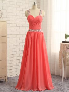 Classical Watermelon Red Criss Cross Prom Evening Gown Beading and Ruching Sleeveless Floor Length