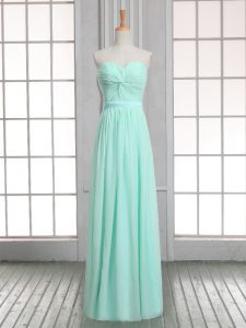 Apple Green Empire Chiffon Sweetheart Sleeveless Ruching Floor Length Lace Up Dress for Prom