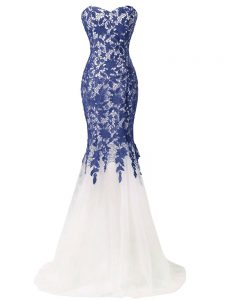 Blue And White Mermaid Tulle Sweetheart Sleeveless Lace and Appliques Lace Up Prom Party Dress Brush Train