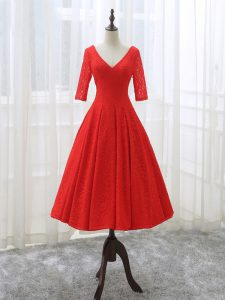 Red V-neck Lace Up Lace and Appliques Half Sleeves