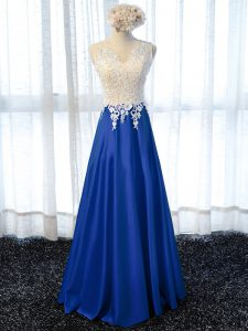 Charming Royal Blue Elastic Woven Satin Zipper Prom Dress Sleeveless Floor Length Lace and Appliques