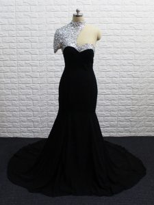 Asymmetric Short Sleeves Prom Gown Brush Train Beading Black Chiffon