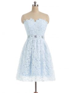 Enchanting Light Blue A-line Beading and Lace and Appliques Prom Party Dress Zipper Lace Sleeveless Mini Length