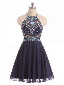 Black Chiffon Side Zipper Prom Dresses Sleeveless High Low Beading