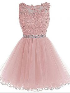 Custom Design Pink Organza Zipper Prom Evening Gown Sleeveless Mini Length Beading and Lace and Appliques