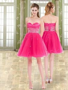 Sweetheart Sleeveless Dress for Prom Mini Length Beading and Ruffles Hot Pink Tulle