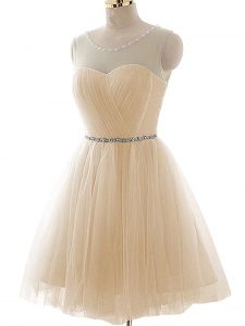 Champagne A-line Beading and Ruching Prom Party Dress Lace Up Tulle Sleeveless Floor Length