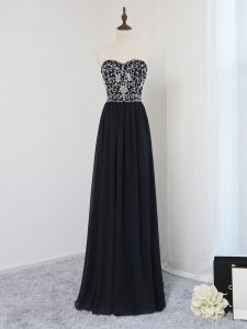 Black Prom Gown Prom and Party and Wedding Party with Beading Sweetheart Sleeveless Zipper