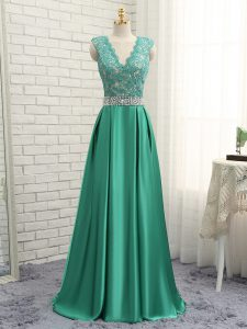 Edgy Empire Evening Dress Green V-neck Elastic Woven Satin Sleeveless Floor Length Backless