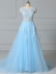 Scoop Sleeveless Tulle Homecoming Dress Lace Brush Train Lace Up