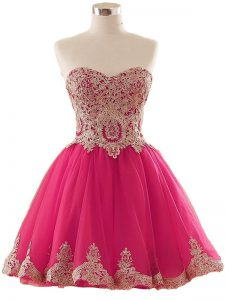 Classical Mini Length Hot Pink Prom Party Dress Sweetheart Sleeveless Lace Up