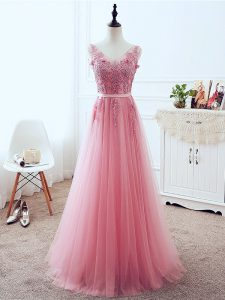 Pink Sleeveless Tulle Lace Up Homecoming Dress for Prom and Party and Military Ball and Sweet 16