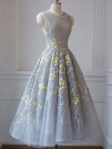 Exquisite Grey Sleeveless Tea Length Lace and Appliques Criss Cross Homecoming Dress