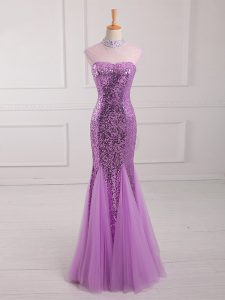 Lilac Prom Party Dress Prom and Party and Military Ball with Beading and Sequins Halter Top Sleeveless Lace Up