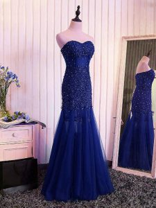Royal Blue Tulle Lace Up Dress for Prom Sleeveless Floor Length Beading and Lace and Appliques and Pleated