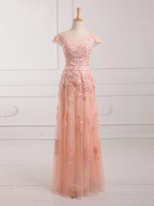 Elegant Peach Tulle Lace Up Cap Sleeves Floor Length Lace and Appliques and Belt