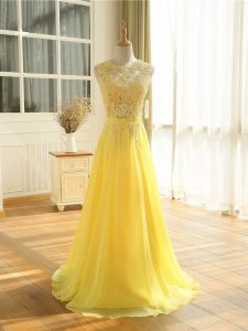 Excellent Scoop Sleeveless Floor Length Lace and Appliques Yellow Chiffon