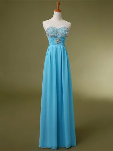 Baby Blue Sweetheart Neckline Beading and Ruching Prom Dresses Sleeveless Lace Up