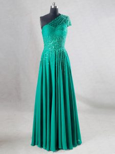 Turquoise Chiffon Backless Sweetheart Sleeveless Floor Length Prom Evening Gown Beading and Pleated