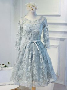 Grey A-line Scoop Long Sleeves Organza Knee Length Lace Up Lace and Appliques and Belt Dress for Prom