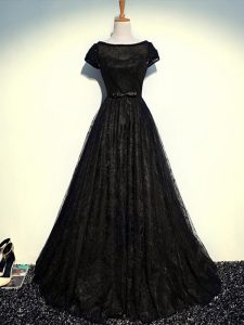 Discount Tulle Scoop Short Sleeves Zipper Beading and Lace and Belt in Black