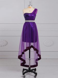 Amazing Purple Sleeveless Beading Dress for Prom
