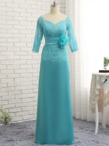 Noble Baby Blue Chiffon Zipper Sweetheart 3 4 Length Sleeve Homecoming Dress Lace and Appliques