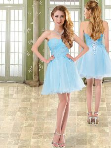 Sweetheart Sleeveless Lace Up Prom Party Dress Baby Blue Chiffon