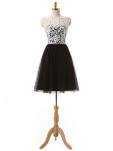 Glittering Mini Length Black Prom Dress Tulle Sleeveless Lace and Appliques