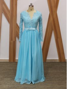 Baby Blue Chiffon Backless V-neck Long Sleeves Floor Length Prom Dress Lace