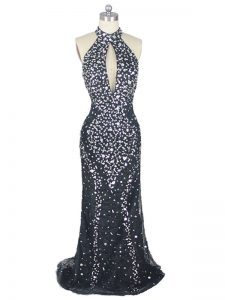Zipper Prom Party Dress Black for Prom and Party and Military Ball with Beading Brush Train