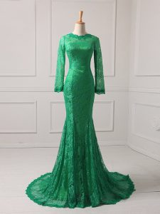 Green Zipper Prom Party Dress Lace Long Sleeves Brush Train