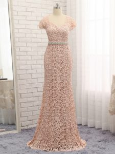 Flare Lace Cap Sleeves Floor Length Homecoming Dress and Beading and Belt