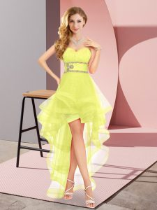 Inexpensive Sweetheart Sleeveless Prom Dresses High Low Beading Yellow Tulle