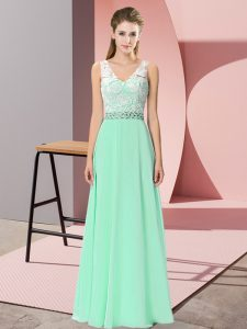 Decent Chiffon V-neck Sleeveless Lace Up Beading Prom Party Dress in Apple Green