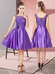 Fantastic Satin Bateau Sleeveless Zipper Lace and Hand Made Flower Homecoming Dress in Purple