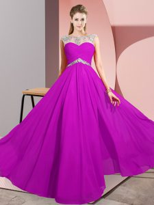 Simple Sleeveless Floor Length Beading Clasp Handle Prom Dresses with Fuchsia