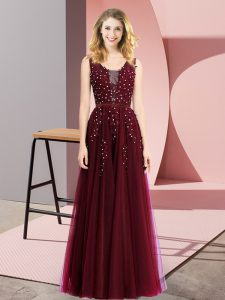Glorious Burgundy Tulle Backless Square Sleeveless Floor Length Homecoming Dress Beading and Appliques