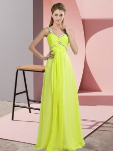 Yellow Green Empire One Shoulder Sleeveless Chiffon Floor Length Lace Up Beading Prom Party Dress