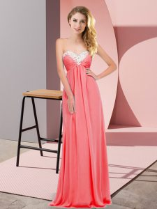 Simple Watermelon Red Empire Chiffon Sweetheart Sleeveless Ruching Floor Length Lace Up Prom Party Dress
