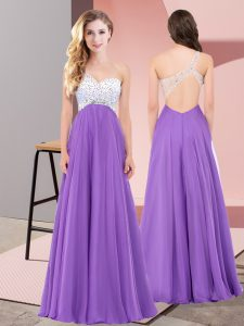 Great Eggplant Purple Sleeveless Beading Floor Length