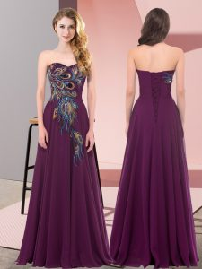 Dark Purple Prom and Party with Embroidery Sweetheart Sleeveless Lace Up
