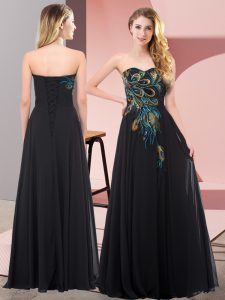 Elegant Black Empire Embroidery Prom Evening Gown Lace Up Chiffon Sleeveless Floor Length