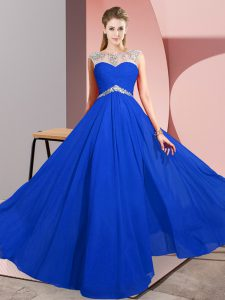 Fancy Scoop Sleeveless Clasp Handle Prom Evening Gown Royal Blue Chiffon