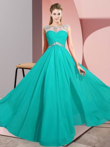 Turquoise Clasp Handle Scoop Beading Evening Dress Chiffon Sleeveless