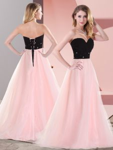 Pink And Black Empire Tulle Sweetheart Sleeveless Belt Floor Length Lace Up Dress for Prom