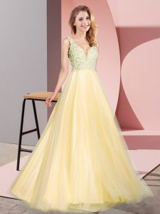 A-line Prom Gown Gold V-neck Tulle Sleeveless Floor Length Zipper