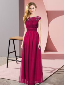Fuchsia Empire Chiffon Strapless Sleeveless Lace Floor Length Zipper Dress for Prom
