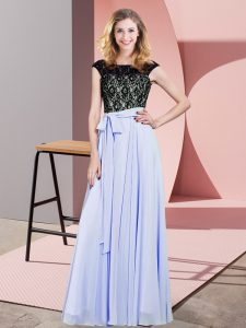 Lavender Sleeveless Chiffon Lace Up Homecoming Dress for Prom and Party